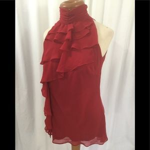 Bisou Bisou red ruffle top.